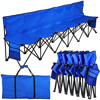 YAHEETECH 6 Seats Folding Bleacher Portable Sideline Bench Camping Chair Outdoor Team Sport Seats with Sidebags