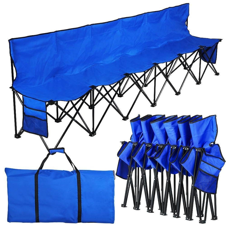 go2buy Heavy Dutyポータブル6?Seaterベンチスポーツサイドラインベンチ背もたれand Carryバッグ、重量容量: 99.79各Seat