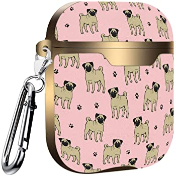 Slim Form Fitted Printing Pattern Cover Case with Carabiner Compatible with Airpods 1 and AirPods 2 Labrador Puppy and Paw Pattern