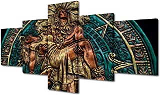 Rustic Wall Art Mexican Man Hugging Woman Paintings Ancient Mayan Aztec Pictures 5 Panels Prints on Canvas Modern Artwork ...