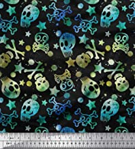 Soimoi Blue Cotton Voile Fabric Star,Crossbones & Skull Halloween Decor Fabric Printed BTY 42 Inch Wide