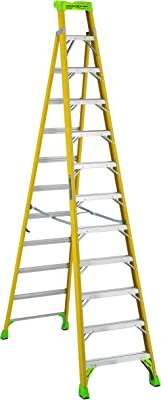 Louisville Ladder 12 ft FXS1412HD 2-in-1 Duty Rating Shelf Fiberglass Cross Step Ladder 375 lb Type IAA, 12', Yellow