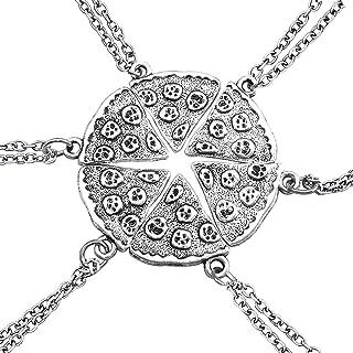 EQLEF Una Serie di Forma di Pizza Six Pack collane d'Argento collane Paio di Amicizia