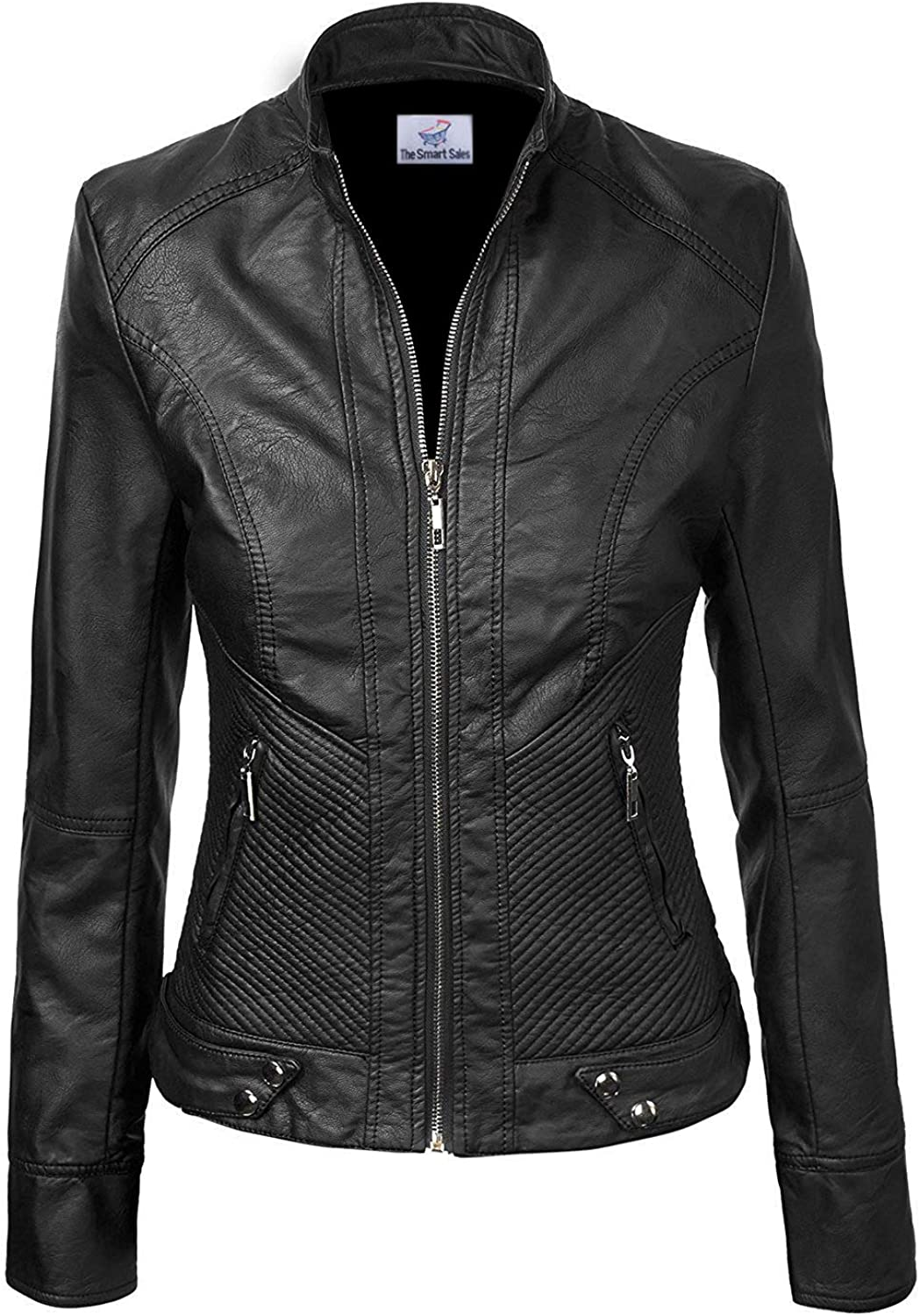 TheSmartSales Black Faux Custom Made Leather Jacket for Women