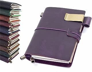 Leather Journal, Handmade Vintage Refillable Travel Diary Writing Notebook Gift for Men & Women 5.3