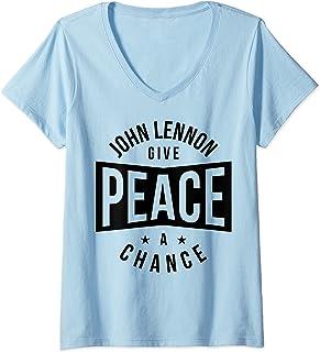 Femme John Lennon - Give Peace a Chance T-Shirt avec Col en V