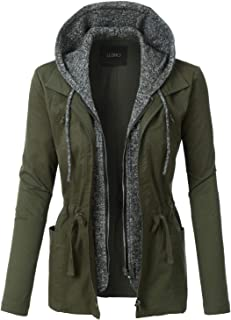 LE3NO Womens Lightweight Military Fleece Hoodie Anorak Jacket - Regular and Plus Sizes