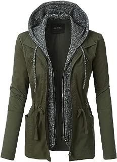 olive jacket with grey hood