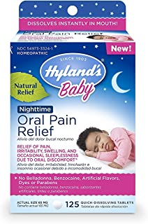 Hyland`s Baby Nighttime Oral Pain Relief Tablets with Chamomilla, Soothing Natural Relief of Oral Discomfort, Irritability, and Swelling 125 Count