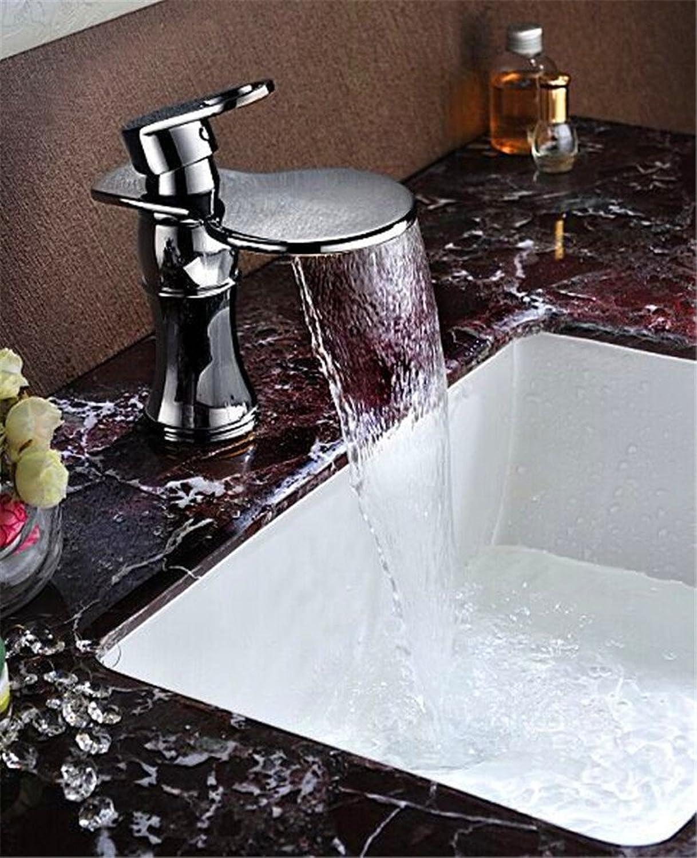 ETERNAL QUALITY Bad Waschbecken Wasserhahn Küche Waschbecken Wasserhahn Kupfer Verchromt Bad Einlochmontage Heien Und Kalten Wasserfall Wasserhahn Waschtischmischer BQ846ca