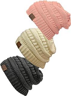 Gravity Threads Women's 3-Pack Knit Beanie Cap Hat