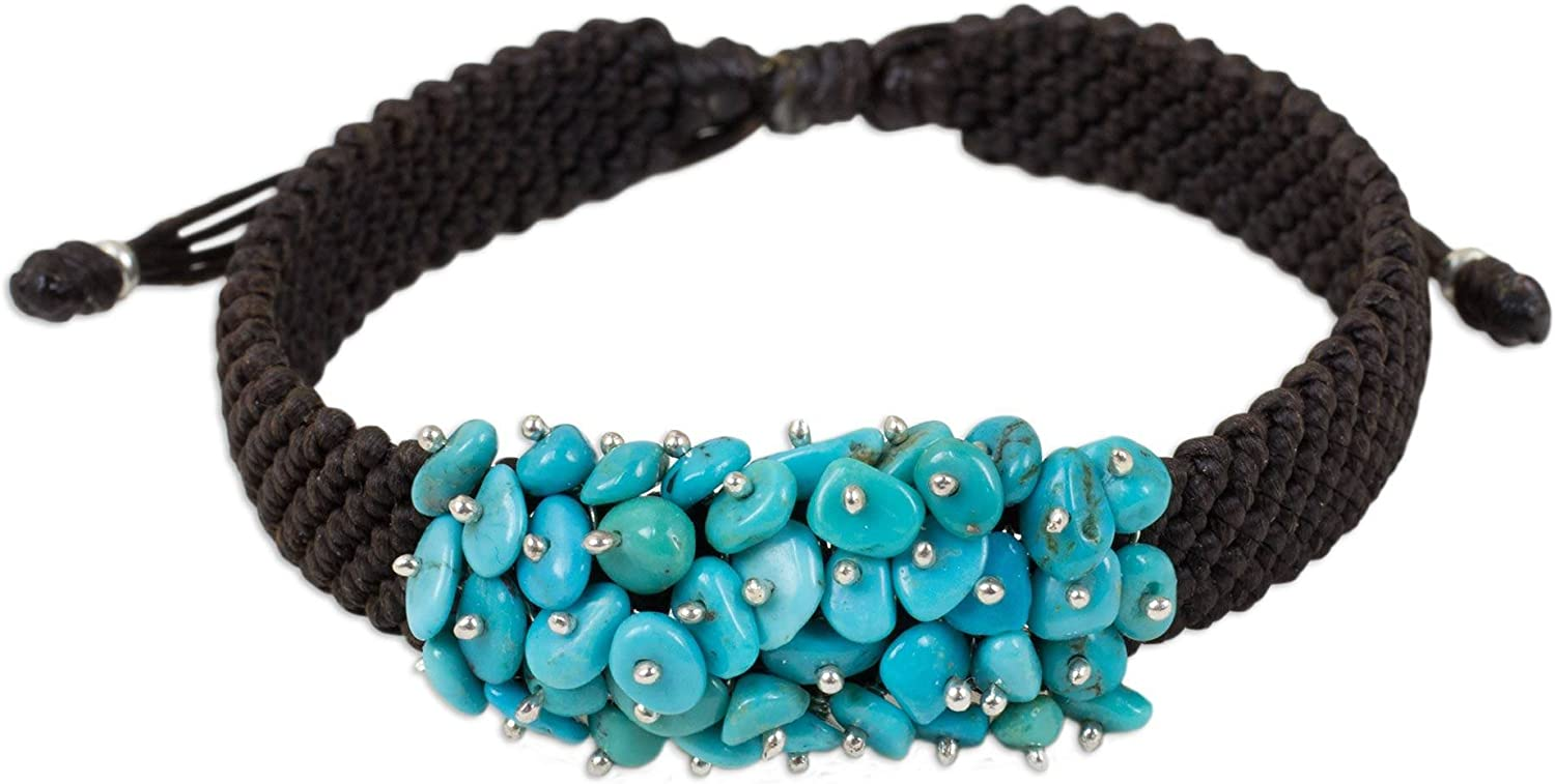 NOVICA Reconstituted Turquoise .925 Sterling Brace safety Columbus Mall Silver Beaded