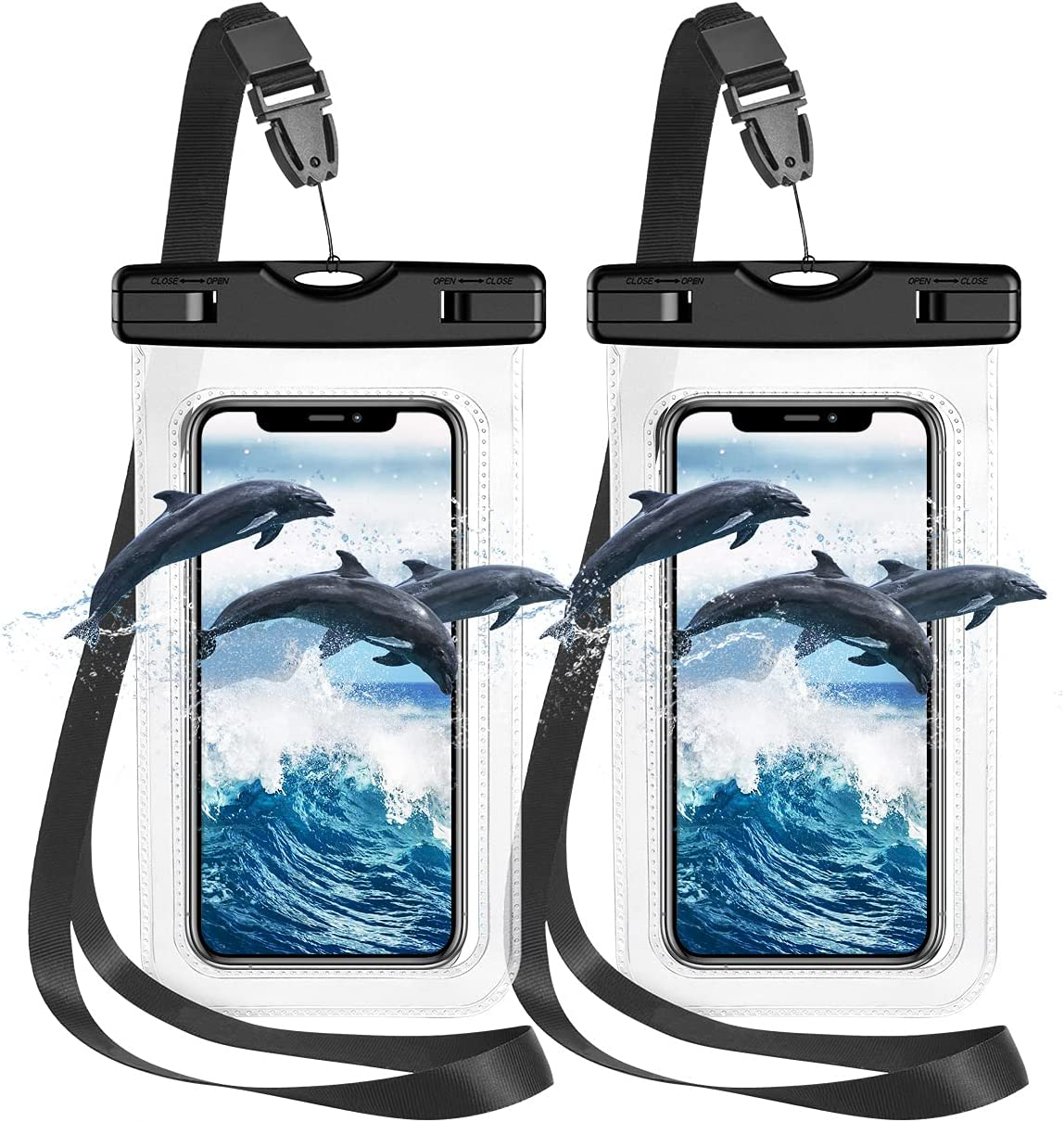 """Waterproof Phone Case, 2 Pack IPX8 Universal Waterproof Phone Pouch Dry Bag with Lanyard for Outdoor Water Sports, Boating, Hiking for iPhone 12 Pro Max/11/XS Max/XR/X Galaxy S21 S20 etc. up to 7.0"""""""