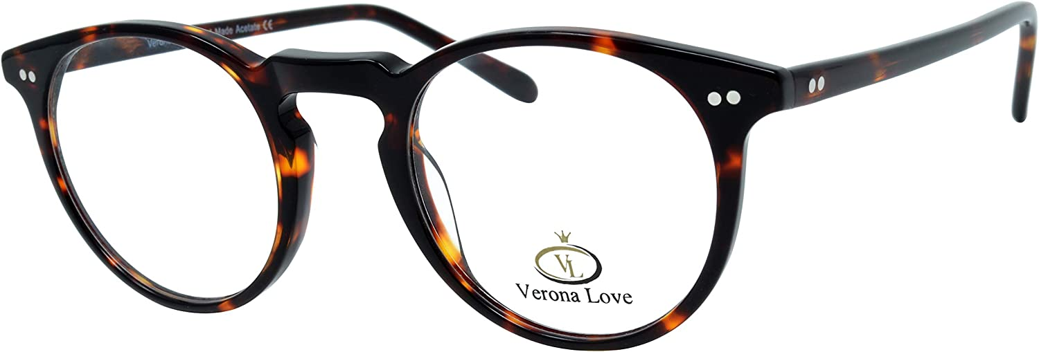 High End Acetate Eyewear Frame Turtle Fashion Eyeglasses Optical Frame For Men and Women (Utah Demi Amber)