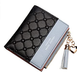 Belsmi Women's Small Compact Slim PU Leather Wallet Lady Purse Zipper Pocket Card Organizer Bifold Wallets (Black)