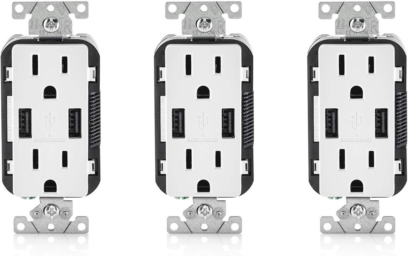 Leviton T5632-3BW 15-Amp USB Latest Ranking TOP5 item Charger Duplex Resistant Rec Tamper