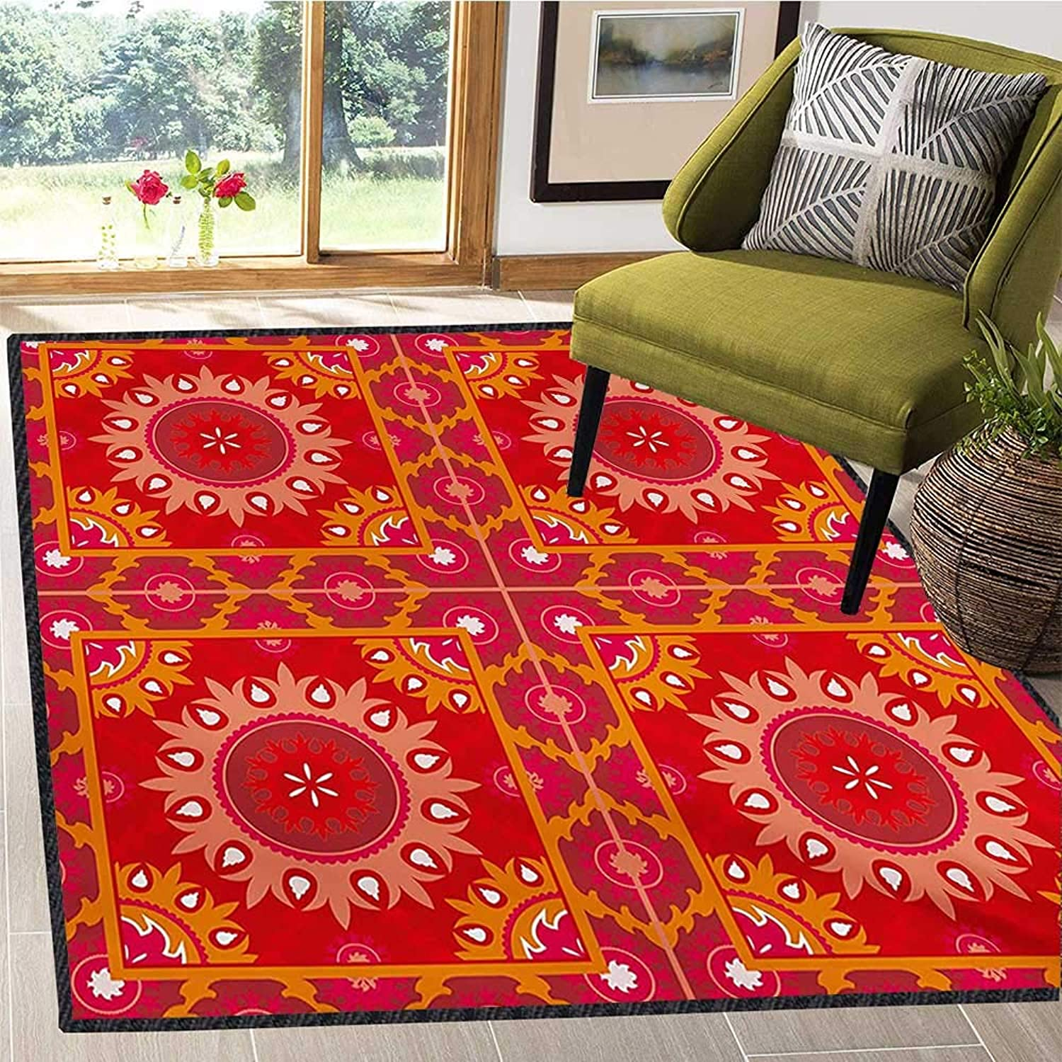 Red Mandala, Floor Mat for Kids, Artistic Oriental Frames Squares with Asian Inspired Elements Symmetric Tile, Door Mat Indoors Bathroom Mats Non Slip 6x7 Ft Multicolor