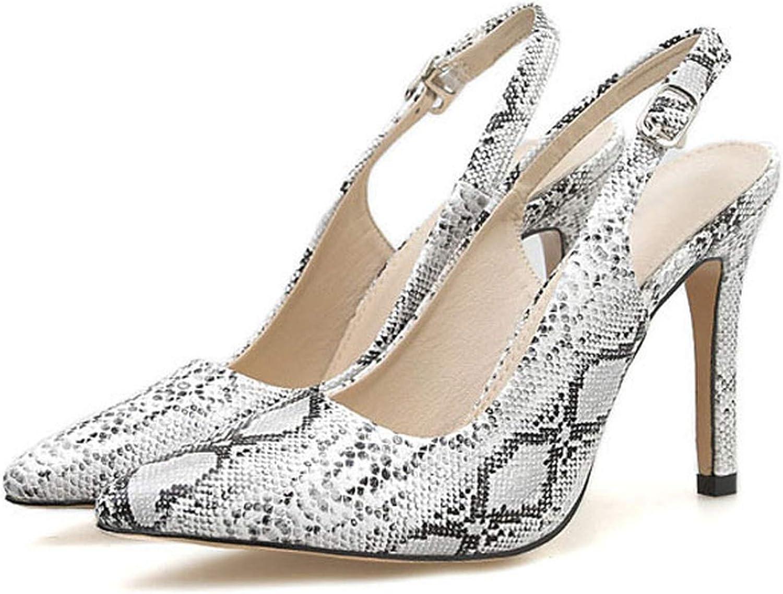 Gooding life Sexy Snake Print Slingbacks High Heels Women Pointed Toe High Heel Women Pumps Buckle Strap Ladies shoes