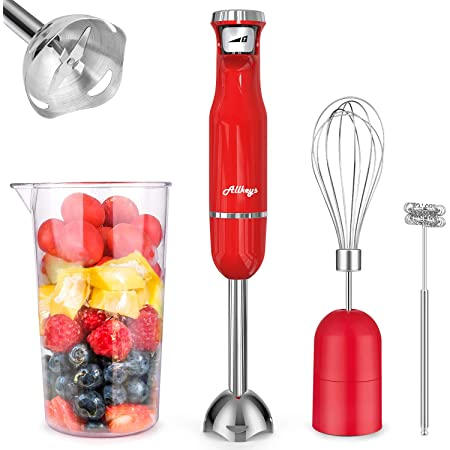 ALLKEYS 500W Immersion Hand Blender,4-in-1 Stainless Steel Stick Blender(Titanium Reinforced), Smart Stepless Speed, Includes 600ml Mixing Beaker / Whisk Attachment /Milk Frother, BPA-Free