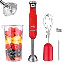ALLKEYS 500W Immersion Hand Blender,3-in-1 Stainless Steel Stick Blender(Titanium Reinforced), Smart Stepless Speed, Includes 600ml Mixing Beaker/Whisk Attachment/Milk Frother, BPA-Free, Detachable