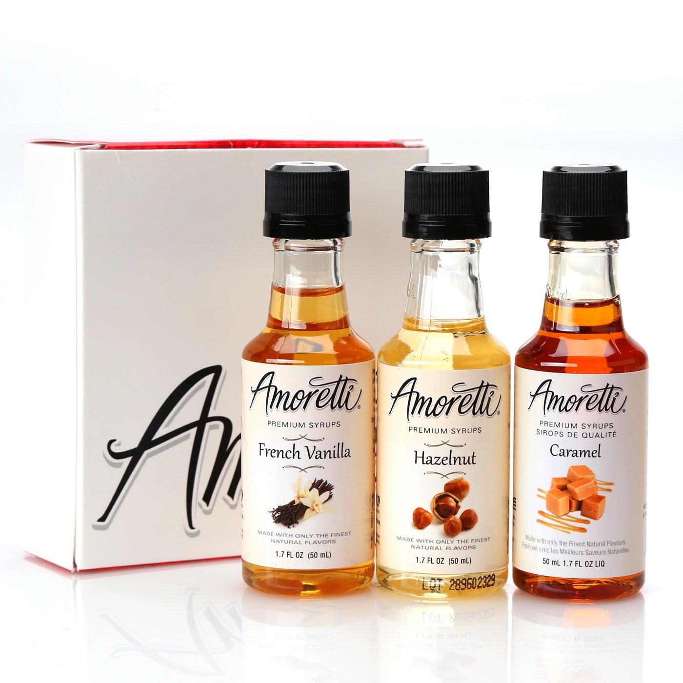 Amoretti Premium Classic Syrups 50ml 3 Pack (French Vanilla, Caramel, Hazelnut)