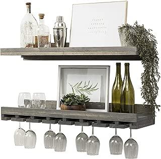Del Hutson Designs Floating Wine Shelf and Glass Rack Set (36