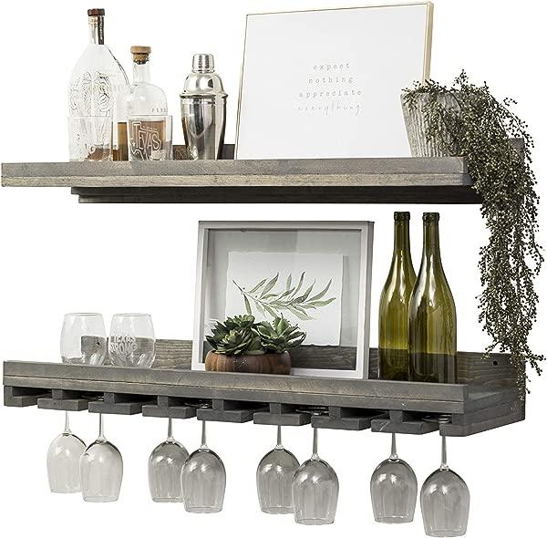 Del Hutson 设计浮动酒架和玻璃架套装 36 壁挂式灰色
