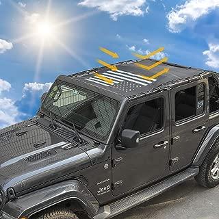 Sunshade Mesh Shade Top Cover Provides Roof UV Sun Protection for Jeep Wrangler JL Rubicon Sahara Sport Sport-S 4-Door