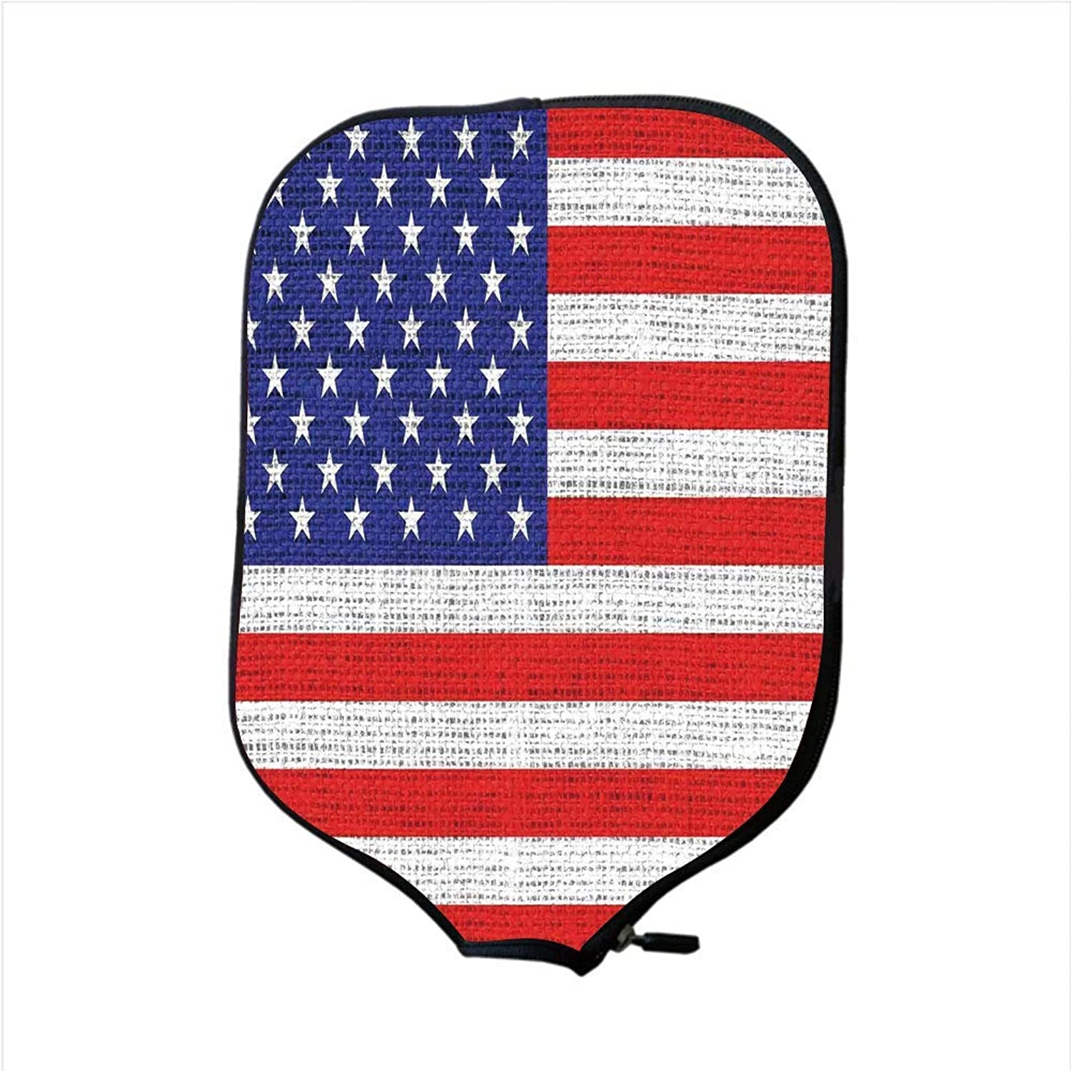 Fine Neoprene Pickleball Paddle Racket Cover Case,Rustic American USA Flag,Fourth of July Independence Day Burlap Looking Retro Vintage Country Pastel color,Fit for Most Rackets