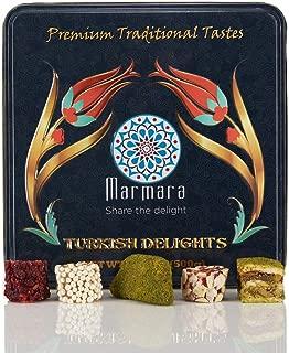 Marmara Premium Traditional Turkish Delight Variety Gift Tin Box Dessert Confectionery Barberry Pomegranate Pistachio Baklava Walnuts Crescent Cogan Flaked Almond Sweet Pearls 500 gram