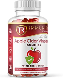 Immunity Organic Apple Cider Vinegar Gummies with The Mother & Iodine. Detox, Cleanse, Thyroid Support, Blo...