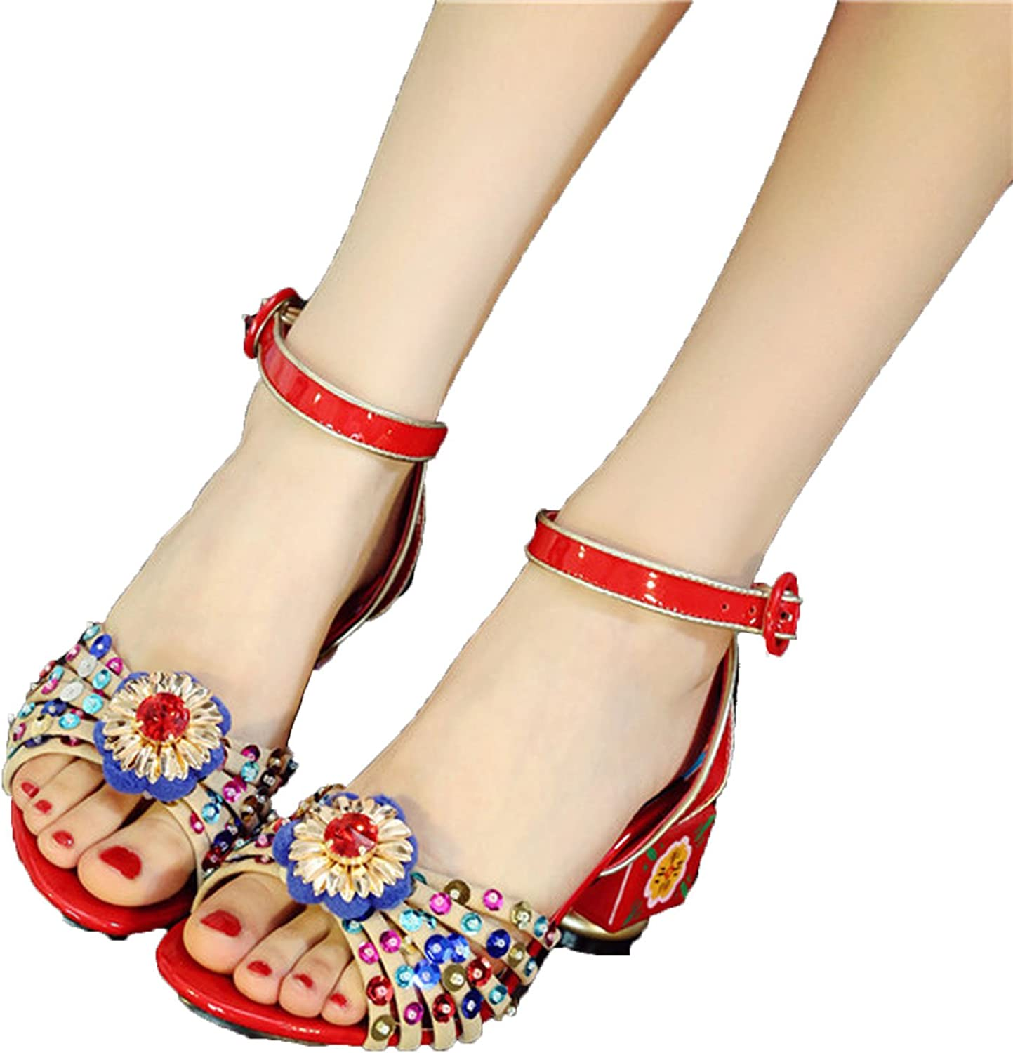 Running-sun Women High-Heel Sandals Painted Flowers Glitter Open-Toed Sandals Plus Size 34-43