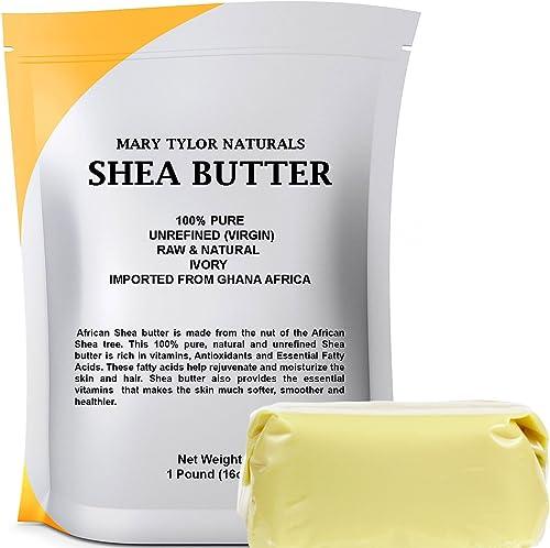 Organic Shea Butter 1 lb (453 g) Raw, Unrefined Ivory, Grade A. Premium Quality Amazing Skin Nourishment, Great For D...