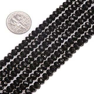 Black Spinel Beads for Jewelry Making Natural Gemstone Semi Precious AAA Grade Rondelle Spacer Faceted 3x5mm 15