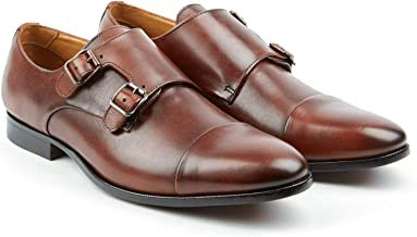 Pair Of Kings Shoes The Jack Brandy Whiskey Leather Double Monk Strap Cap Toe Shoes