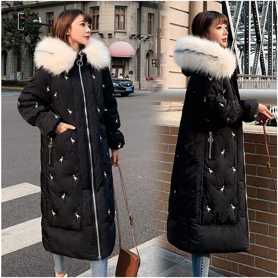 Jacket Women Warm Thicken Hooded with Faux Fur Long Parkas Ladies Pockets Coat Women Black M