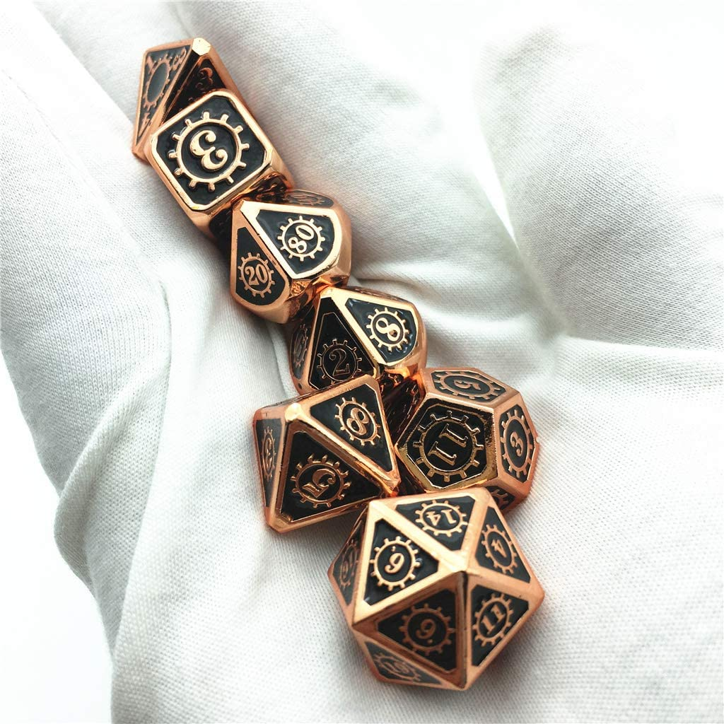 RPG Polyhedral Dices 15+Color for Choice. Momostar Gear Metal Dice Set for Dungeons /& Dragons