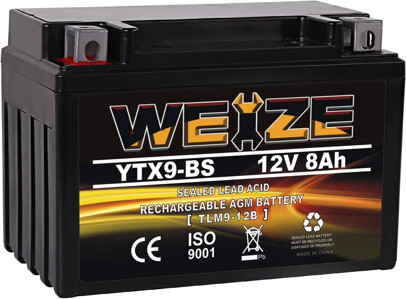 YTX9-BS Battery Maintenance Free For Motorcycle ATV Compatible with Honda TRX 400EX Sportrax Fourtrax GSXR600 LTZ250 ZX600, Polaris Predator 500,Suzuki GSX-R600 YTX9 ETX9 BS Batteries