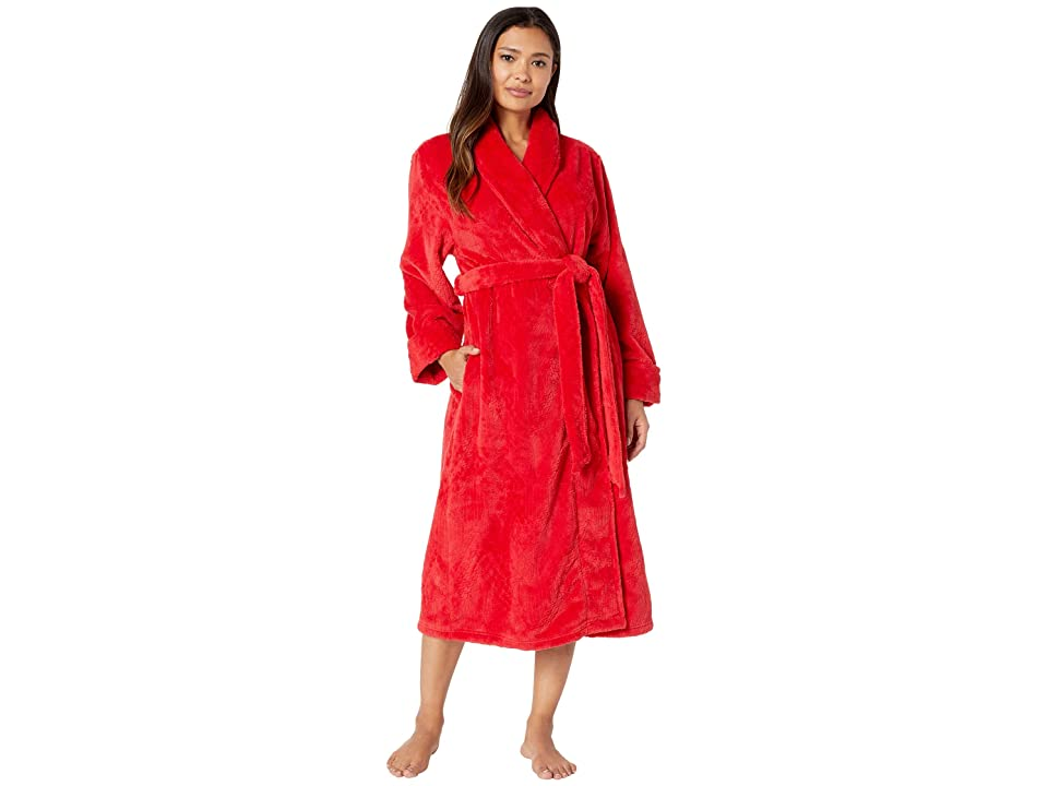 Nautica Long Cable Plush Robe (Red Cable) Women