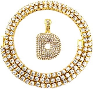 Iced Out Hip Hop Gold Faux Diamond Bubble Dripping Letter A to Z Tennis Chain Necklace 20 Inch