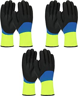 PIP G-Tek 41-1415 Mens/Womens Warm Thermal Waterproof Cold Weather Winter Work Gloves - Double Dipped Nitrile Coated (Medium)