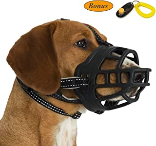 JeonbiuPet Dog Muzzle, Silicone Adjustable Basket Muzzle for Dog Anti-Chewing and Anti-Barking Allows Drinking and Panting