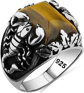 خاتم رجالي من الفضة الإسترلينية عيار 925 مع حجر عين النمر الطبيعي