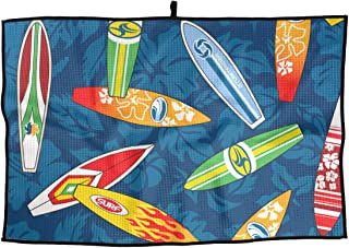 Eplus Waffle Microfiber Golf Towel Light Weight & Quick Drying Surfboard Hibiscus Floral Cart Towel 15