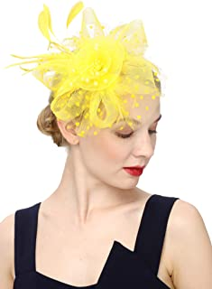 aaf5da784e1cf Cizoe Flower Cocktail Tea Party Headwear Feather Fascinators Top Hat for  Girls and Women