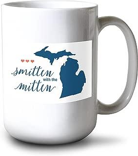 Lantern Press Michigan - Smitten with The Mitten - Script Simple - Color (15oz White Ceramic Mug)