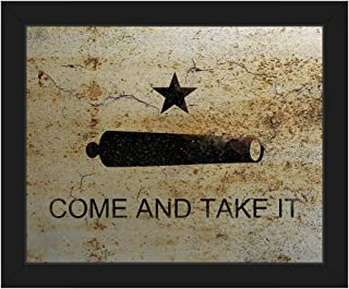 Come and Take It American Revolutionary War Texas Revolution Historical Flag on Rust Rusty Metal-pattern Wall Art Print on Canvas with Black Frame
