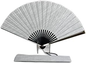 扇子 紳士用 大判 扇子袋セット 風が良く来る扇子 白 ストライプ