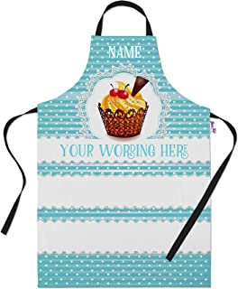 Bang Tidy Clothing Personalized Baking Aprons for Women Men - Cooking Chef Apron - Blue Polka Dot Cupcake