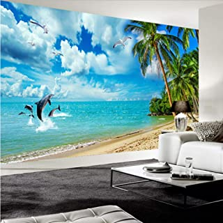 Dalxsh Custom Photo Wall Paper 3D Blue Sky White Clouds Seaside Scenery Dolphin Seagull Coconut Tree Beach Living Room Mural Wallpaper -250X175Cm